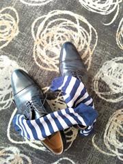 Hotel shoe play 18 (Adam11051983) Tags: blue captoes dress footwear formal lace leather men mens shoe shoes sock socks