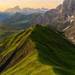 Aerial view of the Dolomites valley