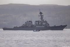 The USS Mitscher, DDG-57; Firth of Clyde, Scotland (Michael Leek Photography) Tags: vessel warship nato navalvessel navalexercise hmnbclyde hmnb hmsneptune faslane gareloch firthofclyde clyde inverclyde gourock scotland scottishcoastline scottishlandscapes scotlandslandscapes scottishshipping westcoastofscotland westernscotland ship destroyer guidedmissiledestroyer arleighburkeclass usa unitedstatesnavy unitedstatesofamerica unitedstates workingboat workboat michaelleek michaelleekphotography