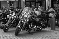 Motorcycles and people (Lyutik966) Tags: motorcycle vehicle transprint people cafe restaurant dinner lunch street oldarbat moscow russia bwartaward