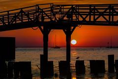 Sunset over Sandy Hook Bay (I Bike For Life) Tags: sunset sailboat bridge