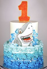 Shark cake (Cookievonster) Tags: shark cookievonster cookieart cookiedecoratedcake vancouvercookies vancity v