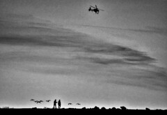 BNW (juliaf211) Tags: folsom lake dam bridge helicopter people walking black white landscape earth nature grayscale scale