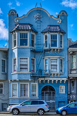 Blue life (sur_hp) Tags: sanfrancisco california street door blue sky usa house building window architecture clouds saturated gate vivid firescape appartments nikond3400
