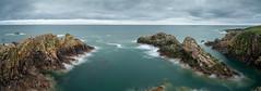 North Sea Pano (Explored #47) (PeskyMesky) Tags: aberdeenshire scotland panorama pano winnyfold crudenbay landscape longexposure rock cliffs canon canon5d eos