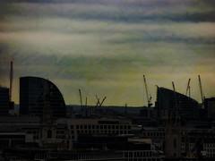Crazy Cranes (Steve Taylor (Photography)) Tags: architecture building crane construction office dark contrast uk gb england greatbritain unitedkingdom london silhouette digitalart texture