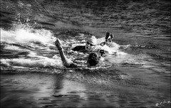 Et le photographe se jette à l'eau... / And the photographer jumps into the water... (vedebe) Tags: eau mer merméditerranée natation triathlon sport sportifs humain human homme people marseille ville city rue street urbain urban littoral plage noiretblanc netb nb bw monochrome