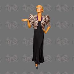 1930s 1940s Purple Daisy Lamé Bolero with Huge Puff Sleeves (Rickenbackerglory.) Tags: vintage 1930s 1940s siegel mannequin purple daisy lamé bolero puffsleeves