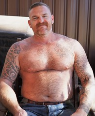 I coerced him... (CubOz) Tags: friend bear beard tattoo hairychest