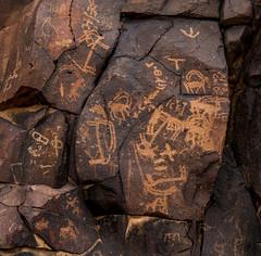 ancient rock art - wadi hassan, N of Azraq, Jordan 4 (Russell Scott Images) Tags: black basalt stony desert azraq jordan ancient rock art petroglyphs wadi hassan