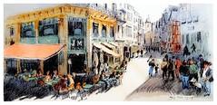 Rouen - Normandie - France (guymoll) Tags: rouen normandie france café terrasse aquarelle croquis watercolour watercolor aguarela acuarela ville personnages