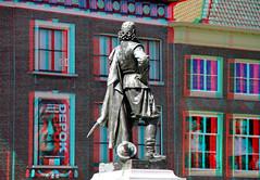Standbeeld van Jan Pieterszoon Coen Hoorn 3D (wim hoppenbrouwers) Tags: standbeeldvanjanpieterszooncoen hoorn roodesteen anaglyph stereo redcyan voc batavia bronze brons statue