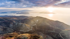 Sunrise from Mount Pantokrator (travel_expert) Tags: aerial agnitravel coastal corfu dawn drone greece landscape mountpantokratoras nature phantom4 ridgelines sunrays sunrise