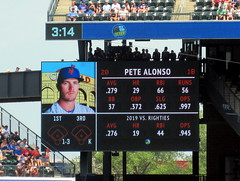 """Citi Field, 07/07/19 (NYM v PHI): Pete Alonso at-bat graphics as shown in the bottom of the 6th inning - the """"Polar Bear"""" will hit his 30th home run of the year in this at-bat (IMG_7562a) (Gary Dunaier) Tags: baseball stadiums stadia ballparks mets newyorkmets flushing queens newyorkcity queenscounty queensboro queensborough citifield"""