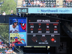Citi Field, 07/07/19 (NYM v PHI): Jeff McNeil at-bat graphics as shown in the bottom of the 7th inning - note the Spider-Man visuals, a tie-in to today's Spider-Man bobblehead giveaway (IMG_7575a) (Gary Dunaier) Tags: baseball stadiums stadia ballparks mets newyorkmets flushing queens newyorkcity queenscounty queensboro queensborough citifield marvelcomics superheroes comicbooks comicbookcharacters comics