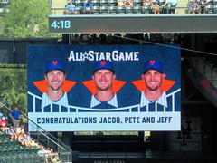Citi Field, 07/07/19 (NYM v PHI): graphic shown in the middle of the 9th inning congratulates Jacob deGrom, Pete Alonso and Jeff McNeil on having been selected to the All-Star Game (IMG_7590a) (Gary Dunaier) Tags: baseball stadiums stadia ballparks mets newyorkmets flushing queens newyorkcity queenscounty queensboro queensborough citifield