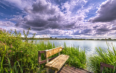 Longham Clouds (nicklucas2) Tags: landscape longham dorset lake cloud water bench
