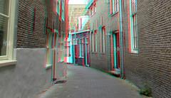 Straatje Hoorn 3D (wim hoppenbrouwers) Tags: straatje hoorn 3d anaglyph stereo redcyan city street