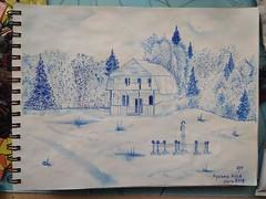 усадьба арчын 1 (julshaba) Tags: рисунок чернила алтай drawing ink altai landscape пейзаж