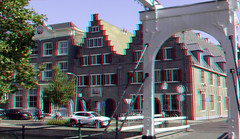 Hoorn 3D (wim hoppenbrouwers) Tags: hoorn 3d anaglyph stereo redcyan straat street stad city brug canal gracht