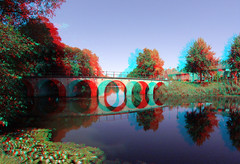 Hoorn Oosterpoort Draafsingel 3D GoPro (wim hoppenbrouwers) Tags: hoorn oosterpoort draafsingel 3d gopro anaglyph stereo redcyan 200mm singel canal water brug bridge weerspiegeling reflectie