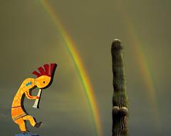 Arizona Monsoon Has Arrived (oybay©) Tags: kokopelli desert dry doublerainbow isolation minimalism artistic color colors suncitywest arizona rainbow cactus saguaro stormy monsoon 2006 lighting surreal favorite unusual vistancia arrid
