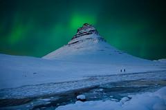 Iceland mount Kirkjufell aurora (archkoven13) Tags: mountain lights iceland nightview northern 極光 sky snow rivers 歐洲 北歐 冰島