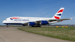 BA A380-800. (spencer_wilmot) Tags: aviation aircraft airplane airliner airport arrival airside apron airbus airbusa380 a380 a388 a380800 ba baw britishairways speedbird quad super taxiway plane passengerjet jet jetliner civilaviation commercialaviation doubledecker egll lhregll lhr heathrow london longhaul landinggear pilot flight flying heavy ramp runway widebody oneworld gxlee