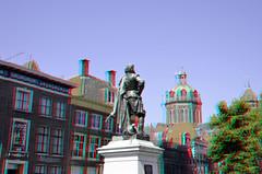 Hoorn 3D (wim hoppenbrouwers) Tags: hoorn 3d anaglyph stereo redcyan plein statue standbeeld brons koepelkerk roodesteen stad city coen