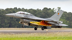 Belgian F-16D. (spencer_wilmot) Tags: f16d fighter fighterjet jet plane aviation aircraft airplane arrival apron airforce specialcolours speciallivery specialmarkings f16 fightingfalcon recovery landing landinggear pilot flying
