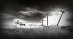 Living In Dreams (Loegan Magic) Tags: secondlife landscape powerlines sky grass field blackandwhite clouds vintage