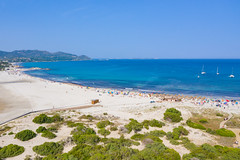 The sand beach of Porto Giunco at Tyrrhenian Sea, Sardinia, Italy