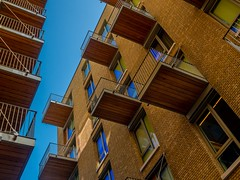 Balcony's (ainz1607) Tags: balcony architecture building orange blue living appartments flats london