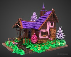 Home Sweet Home (jaapxaap) Tags: lego afol moc creation by jaapxaap fantasy house forest home sweet pink purple medieval roof ground foliage fence nature tree