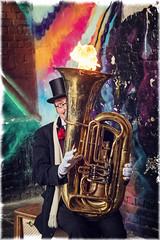 Hot Tuba (paulbnashphotography (ARPS)) Tags: tuba street streetphotography streetphoto entertainer colour color london musician fire londonbaby londonphoto londoncitycapital urban urbanphotography paulbnash paulbnashphotography brass instrument grafitti