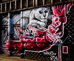 I Have Heard of Tiger Prawns (Steve Taylor (Photography)) Tags: lion konst prawn hnrx polkadots mural streetart tag black red white brown pink uk gb england greatbritain unitedkingdom london