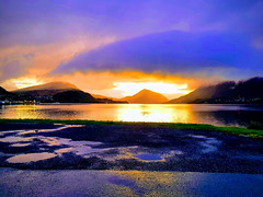 20180829_205443-EFFECTS (nlangdal) Tags: sunset fog ørsta fjord reflections norway