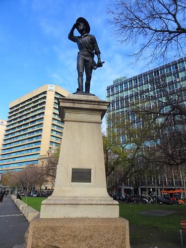 Adelaide. Victoria Square. The 1916 statue of Australian explorer Captain Charles Sturt. Sculptor was Adrian Jones..