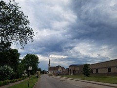 20190731_074333 (tomcomjr) Tags: samsung galaxy s7 android phonephotos phonecamera pittsburgks clouds sky blue gray house church steeple
