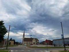 20190731_074511 (tomcomjr) Tags: samsung galaxy s7 android phonephotos phonecamera pittsburgks clouds sky blue gray house church steeple