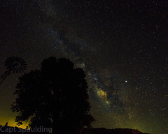 A night under the stars (CaptSpaulding) Tags: yellow canon color california contrast centralcoast landscape light 6d nature night nightshot sky stars milkyway windmill tree trees