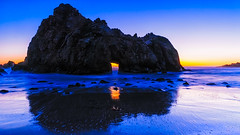 beautiful this side, too (LightInThisWorld) Tags: travel seascape lightinthisworld sanjosephotographer pfeiffer beach sunset pacificocean california landscape rock portal door water nikon nikond200 d200 blue