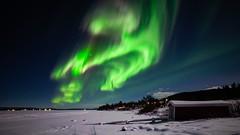 Aurora Borealis at Torneriver (bholmbom81) Tags: trees winter sky snow stars lights frozen arctic boathouse auroraborealis torneriver poikkijärvi bjornholmbom björnholmbom lappland