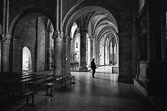 The Visitor (AChaby) Tags: acyro frança reims cathedral catedral interiores interiors church igreja pb bw