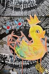Neon Savage, London, UK (Robby Virus) Tags: london england uk unitedkingdom britain greatbritain gb neon savage artist street art paste pasted paper wheatpaste pasteup bird birdie yellow king rubber duck duckie crown