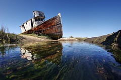 The glory days are long gone (PeterThoeny) Tags: inverness pointreyes northerncalifornia california usa ship shipwreck abandoned creek water reflection waterreflection algae sky day clear outdoor sony sonya7 a7 a7ii a7mii alpha7mii ilce7m2 fullframe rokinon12mmf28 fisheye fisheyelens wideangle 1xp raw photomatix hdr qualityhdr qualityhdrphotography fav200