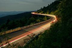 Morning Rush Hour (R. Keith Clontz) Tags: night road highway linncoveviaduct brp blueridgeparkway keithclontz northcarolina blue ridge parkway grandfathermountain light streaks longexposure morning