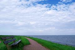 Face à l'immensité (Atreides59) Tags: mer sea water eau ciel sky nuages clouds banc vert green bleu blue blanc white volendam paysbas netherlands hollande holland atreides atreides59 cedriclafrance