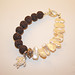 Precious metal clay turtle with pearls and lava beads bracelet