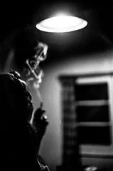 Fumando en las sombras (peichvasquez79) Tags: blackandwhite blancoynegro retrato portrait canonftql canon cigarrillo smoke kodak